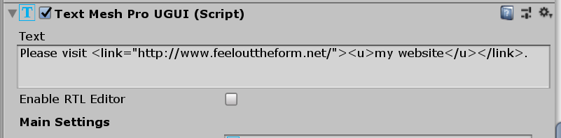 TextMeshPro Text component with a link
